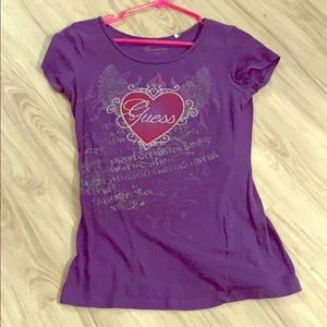 Guess purple tee with rhinestone details